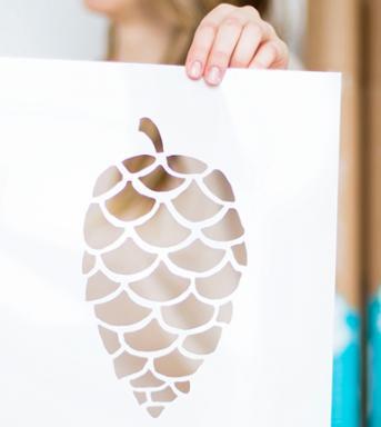 pine cone wall stencil