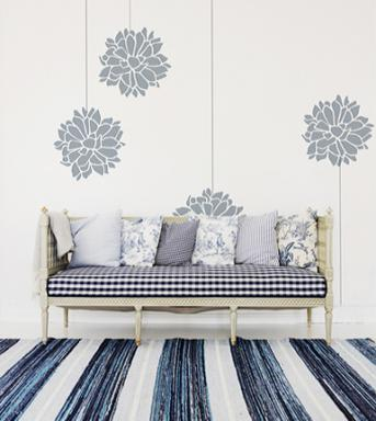 Chrysanthemum Scandinavian wall stencil