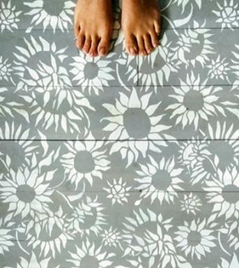 Sunflowers wall stencil