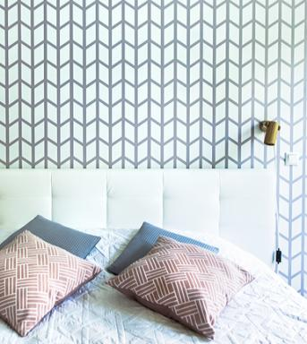 Chevron wide wall stencil